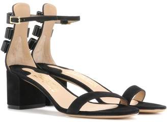Salvatore Ferragamo Connie embellished suede sandals