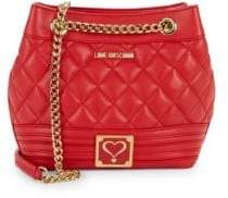Love Moschino Quilted Heart Front Bucket Bag
