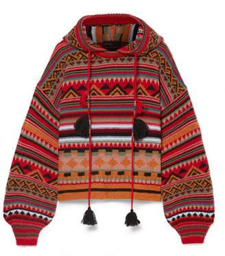 Etro Tasseled Wool-blend Jacquard Hoodie - Red