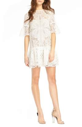 ML Monique Lhuillier Lace & Ruffle Shift Dress