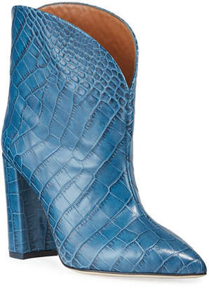 Paris Texas 90mm Croc-Embossed Leather Booties