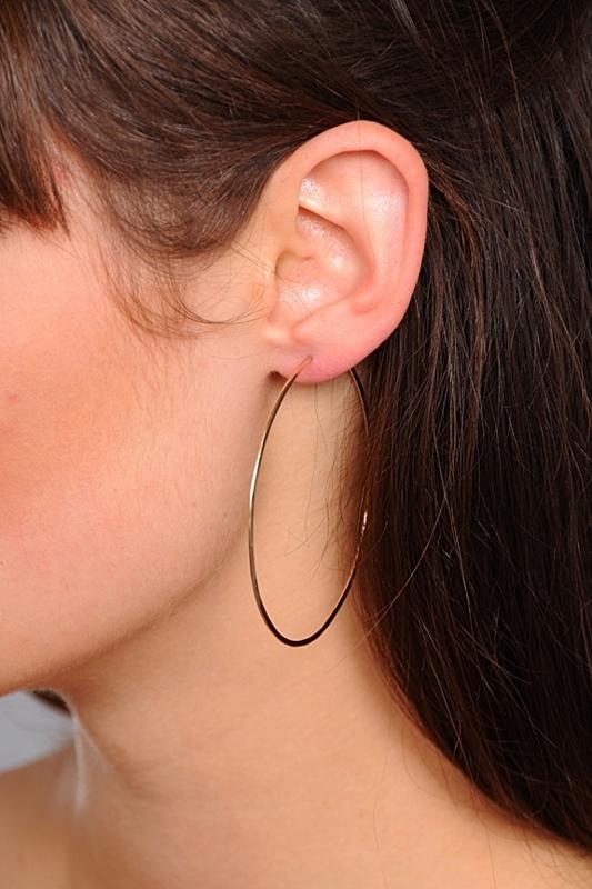 Circadian Studios Medium Gold Floating Hoop Earrings