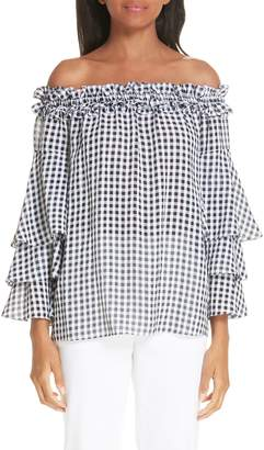 Michael Kors Gingham Tiered Sleeve Off the Shoulder Top