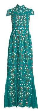 Alice + Olivia Women's Arwen Floral-Embroidered Cap Sleeve A-Line Gown - Teal Multi - Size 8