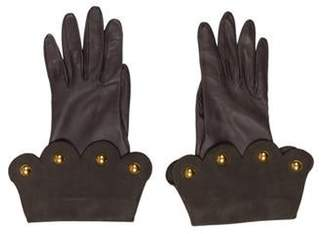 Hermà ̈s Lambskin Embellished Gloves Green Hermà ̈s Lambskin Embellished Gloves