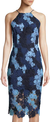 Alexia Admor French Design High-Neck Floral-Lace Midi Dress