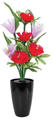 Freesia Global Gizmos Fibre Brite Bouquet - Fibre Optic Flowers - Pink And Red Poppies, Plastic, Multicoloured