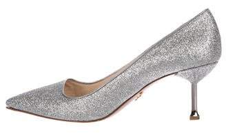 Prada Glitter Pointed-Toe Pumps