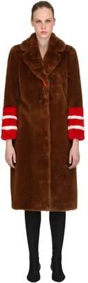 Ermanno Scervino Faux Fur Long Coat W/ Striped Details