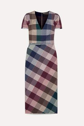 Roland Mouret Chaney Checked Cotton-blend Bouclé Midi Dress - Burgundy