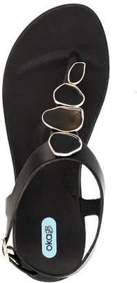OKA b. OkaB Oka-B Nova Flip Flop Sandal Shoes Color with Black Enamel Strand by OkaB