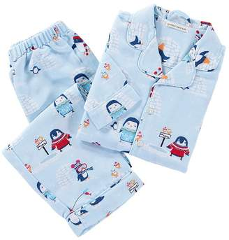 Pottery Barn Kids Icy Penguin Loose Fit Pajama, 2T, Size Blue Multi