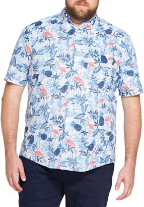 Izod Big Tall Flamingo Print Short Sleeve Sport Shirt