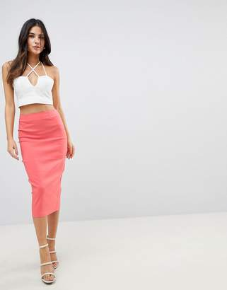 Asos Design DESIGN high waist longerline pencil skirt