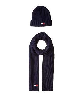 Tommy Hilfiger Knit Logo Hat and Scarf Set