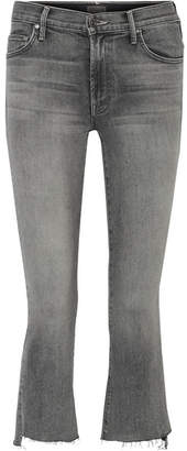 Mother The Insider Crop High-rise Flared Jeans - Gray