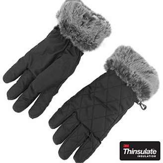 accsa Women Outdoor 3M Thinsulate Gray Fur Cuff Quilted Ski Gloves Snowboard Windproof Waterproof