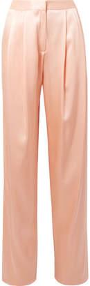 ADAM by Adam Lippes Pleated Silk-charmeuse Wide-leg Pants - Peach
