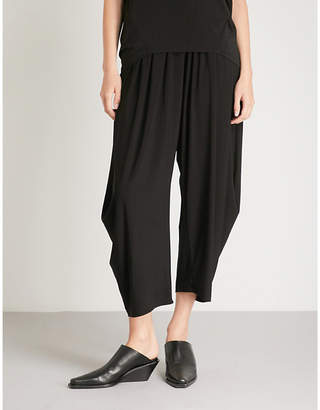 Issey Miyake High-rise wide crepe-jersey cropped trousers