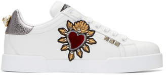 Dolce & Gabbana White Heart Patch Portofino Sneakers