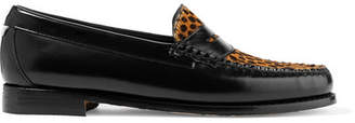 RE/DONE Weejuns The Whitney Glossed-leather And Leopard-print Calf Hair Loafers - Leopard print
