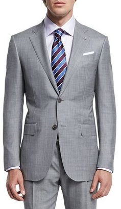 Ermenegildo Zegna Sharkskin Two-Piece Trofeo® Wool Suit, Light Gray $3,395 thestylecure.com
