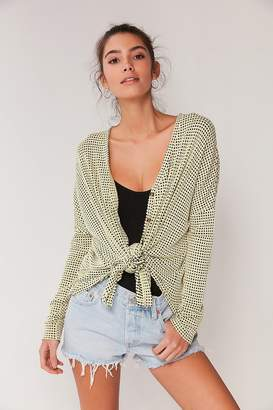 Urban Outfitters Jojo Checkered Waffle Button-Front Top