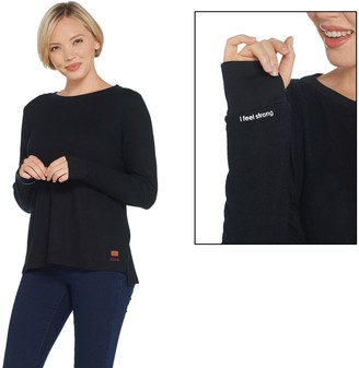 Peace Love World Long Sleeve Comfy Knit Top w/ Hi-Low Hem
