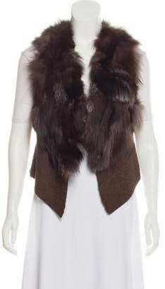 Adrienne Landau Fur-Trimmed Knit Vest