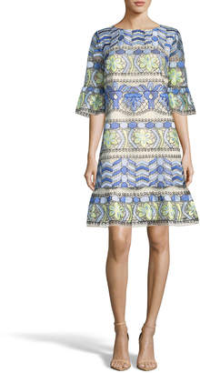 Label By 5twelve Half Bell-Sleeve Embroidered Dress