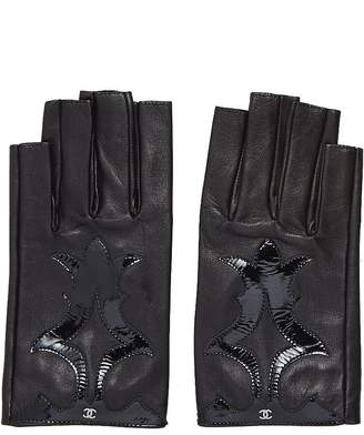 Chanel Black Lambskin & Patent Leather Fingerless Gloves