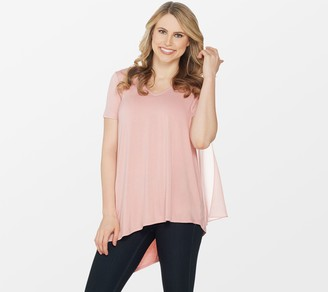 Lisa Rinna Collection V-Neck Top with Chiffon Back Detail