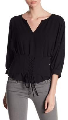 1 STATE 1.State V-Neck Blouson Sleeve Lace-Up Top