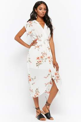 Forever 21 Textured Floral Surplice Split-Hem Dress