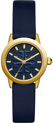 Tory Burch GIGI WATCH, NAVY LEATHER/GOLD-TONE, 28 MM