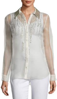 Elie Tahari Martha Beaded Silk Chiffon Blouse w/ Leather Collar
