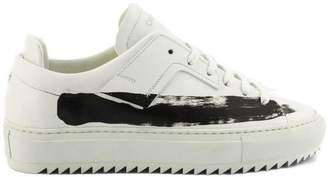Oamc Sneaker In White Leather With Paint Stripe.