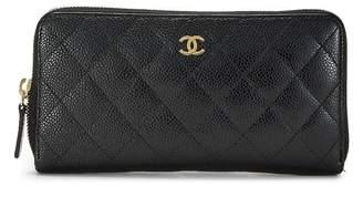 Chanel Black Quilted Calfskin Zip-Around Wallet