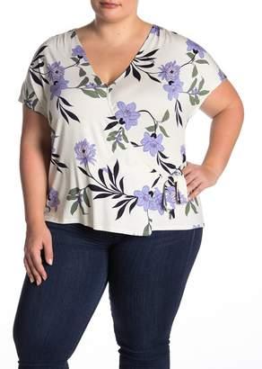 14th & Union Shirred Print Wrap T-Shirt (Plus Size)