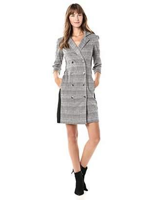 Gabby Skye Women's 3/4 Sleeve V-Neck Knit Sheath Plaid Coat Dress