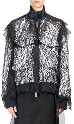 Sacai Sequin Zip-Front Jacket