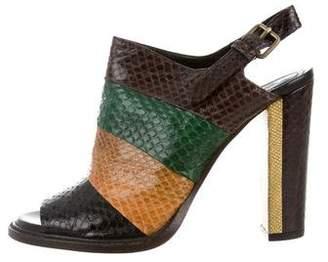 Dries Van Noten Snakeskin Slingback Sandals