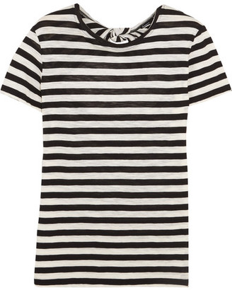 Proenza Schouler - Tie-back Striped Cotton-jersey T-shirt - Black $335 thestylecure.com