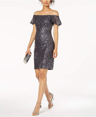 Night Way Nightway Off-The-Shoulder Sequined Lace Dress