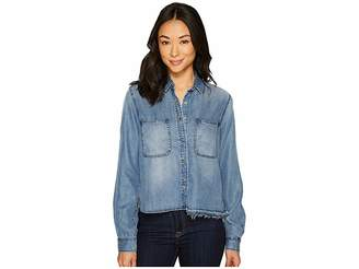 7 For All Mankind Step Hem Denim Shirt w/ Released Hem in Mineral Blue Women's Clothing