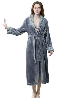 99e992867e Artfasion Womens Robes Soft Plush Warm Flannel Spa Thick Long Full Length Bathrobe  Ladies Winter Sleepwear