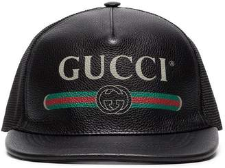 Gucci Fake Logo Leather Trucker Cap