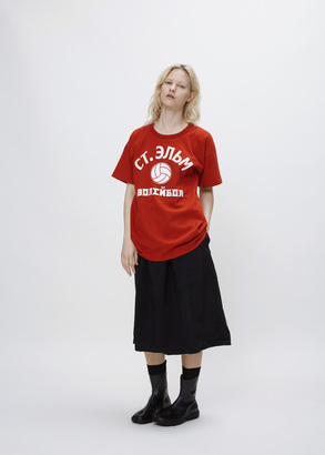 Junya Watanabe red white scrunch-back tee $408 thestylecure.com