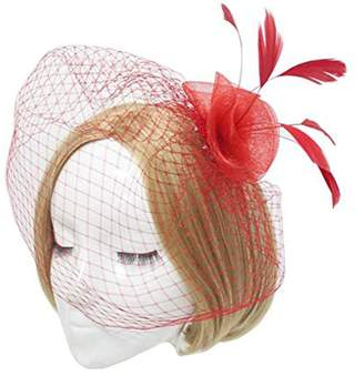 VaniaDress Women Bow Flower Cocktail Hair Clip Bridal Birdcage Face Veil V007TS