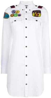 DSQUARED2 patch appliqué long line shirt